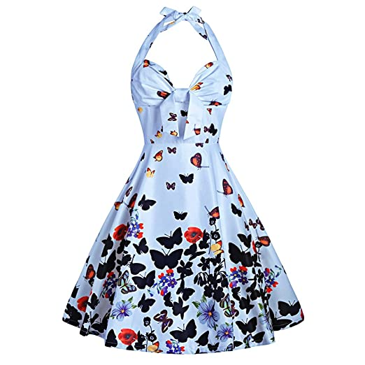 4472ad36916 DressLily Women Retro Halter Butterfly Print A Line Vintage Cocktail Dress  at Amazon Women s Clothing store
