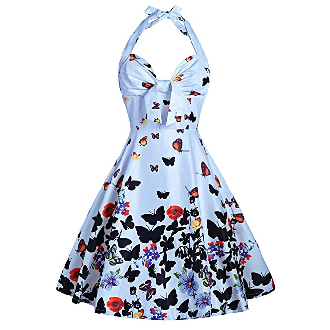 DressLily - Vestito - Sera - Stampa animalier - Senza maniche - Donna Light  Blue XL  Amazon.it  Abbigliamento 1dca69acc85