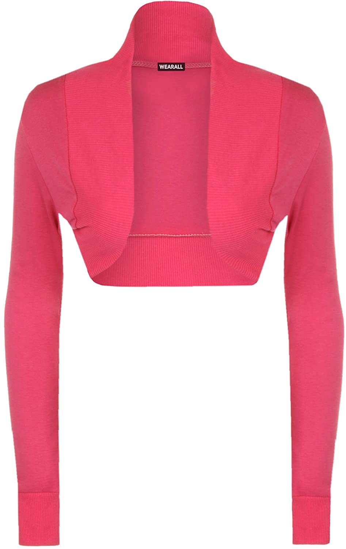 maglia a maniche lunghe da donna in acciaio inox WearAll - 13 colori - Bolero Top dimensioni 36-42 10896