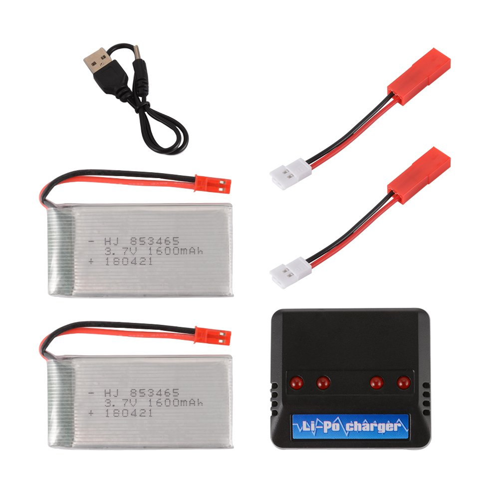 Kreema 2pcs 3.7V 1600mAh Li-polymer JST Port Battery + 4in1 Charger + 2pcs Converter Cable for JJRC A6 Quadcopter Drone ULD-BC729