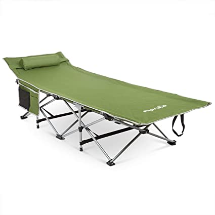 Alpcour Folding Camping Cot Deluxe Collapsible Single Person Bed In A Bag W Pillow For Indoor Outdoor Use Ultra Lightweight Comfortable