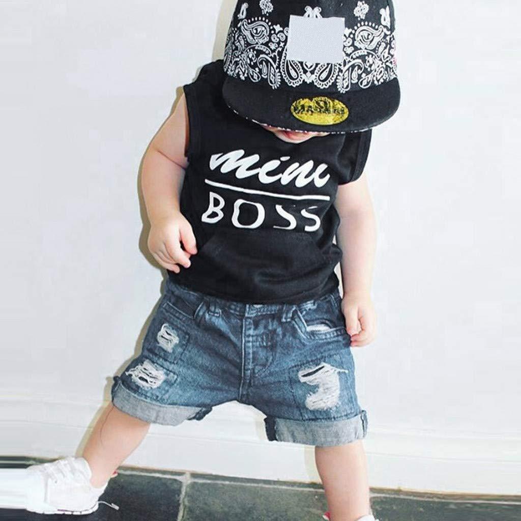 Pantaloni Jeans tagliuzzati Sets Honestyi Abbigliamento da Gentiluomo T-Shirt Ragazzo Girocollo 2Pcs Neonato Ragazzino Cime Canotte Senza Maniche Stampa di Lettere Tops