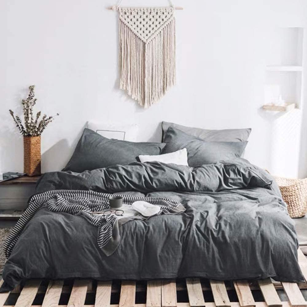 HYPREST 100% Washed Cotton Grey Duvet Cover Set Queen - Ultra Soft Breathable Durable and Easy Care ,Modern Style Bedding Set (Darkgrey, Queen)