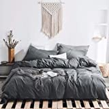 HYPREST 100% Washed Cotton Grey Duvet Cover Set Queen - Ultra Soft Breathable Durable and Easy Care ,Modern Style Bedding Set