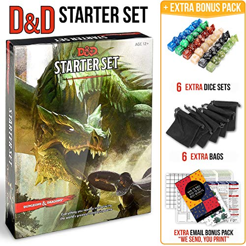Dungeons Dragons Starter Set 5th Edition - DND Starter Kit - Dice in Black Bag - Fun DND Rolling Board Games Adults Adult Magic Board Game 5e Beginner Popular Pack Die Book ()