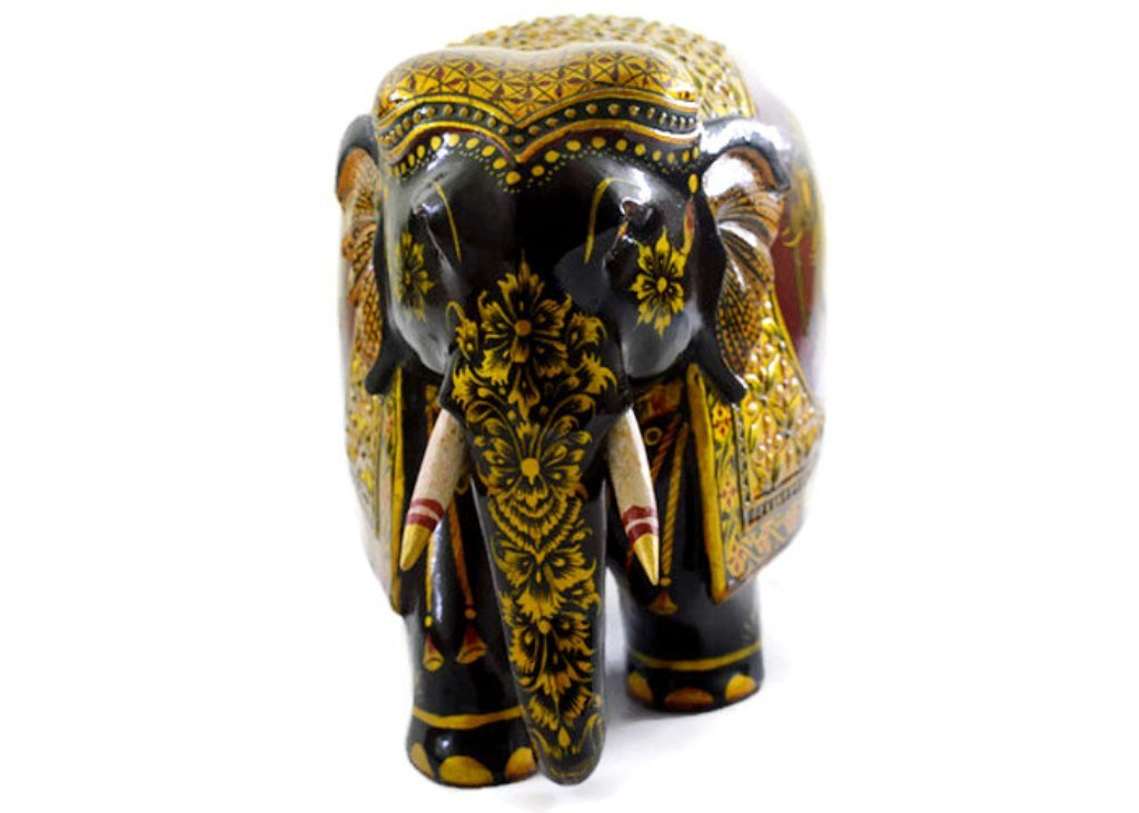 Eurasia Handmade Kadam Wood Elephant With Pure Gold Work Handcarved By Artisans Multi Color Size :- 4''-12''