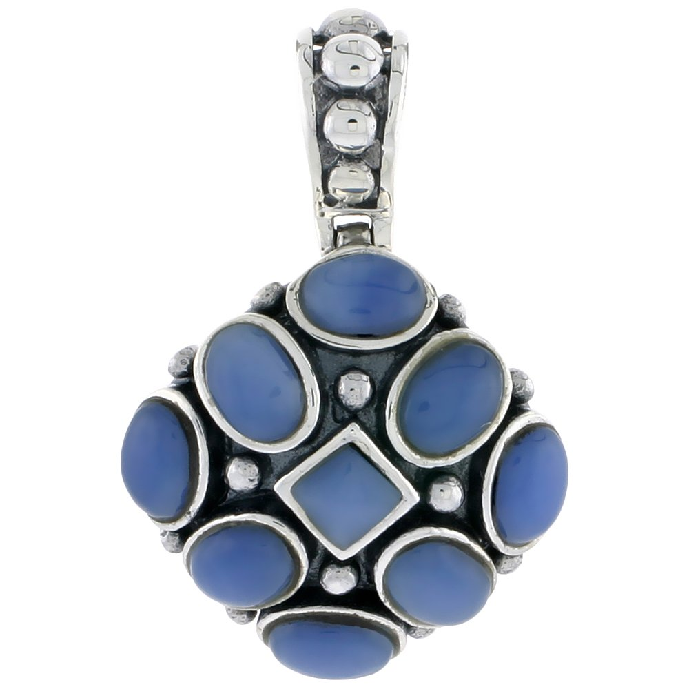 Sterling Silver Oxidized Pendant tall 15//16 24mm w// 5mm Square /& Eight 7 x 5 mm Oval-shaped Blue Resin