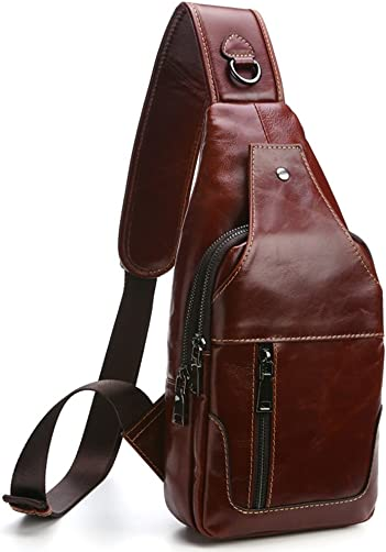 Everdoss Sling Backpack for Men Top Genuine Leather Chest Bag for Traveling