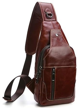 Everdoss Sling Backpack for Men Top Genuine Leather Chest Bag for Traveling