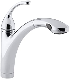 KOHLER K-10433-CP Forte Single Control Pull-out Kitchen Sink Faucet, Single Lever Handle, 1-hole or 3-hole installation, Polished Chrome, 2-function Spray Head