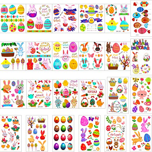 Zhanmai 48 Sheets Easter Tattoo Stickers Bunny Egg Temporary Tattoos Easter Cartoon Stickers for Easter Theme Party Supplies