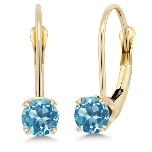 7cbf0ed22 Image Unavailable. Image not available for. Color: 14K Yellow Gold 0.66 Ct  Round Swiss Blue Topaz Leverback Earrings