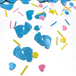 Baby Shower Confetti Party Table Decoration Footprint Confetti Table Scatter Decor Sprinkles or DIY for Wedding Birthday Bday Engagement Bachelorette Party Supplies 1.5OZ(Footprint Blue)