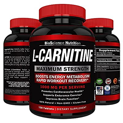 L-Carnitine 1000mg Servings 120 Tablets – Carnitine Amino Acid - BioScience Nutrition USA