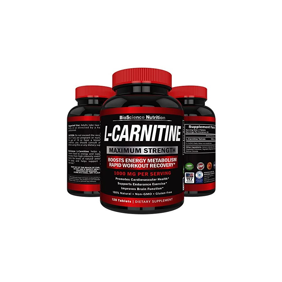 L Carnitine 1000mg Servings 120 Tablets – Carnitine Amino Acid Arazo Nutrition USA