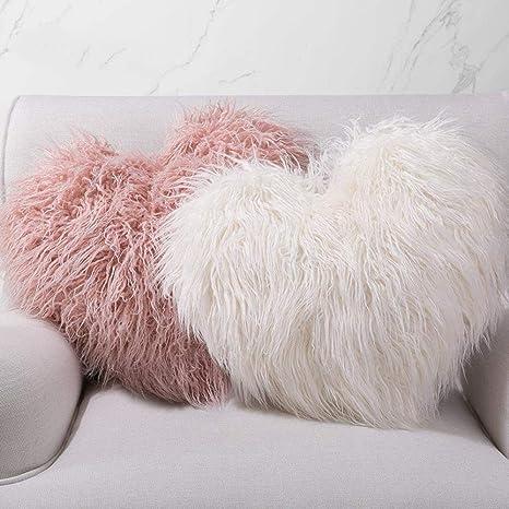 bejiling Lindo corazón,Peludo,cómodo Almohada, 45 x 45 cm ...