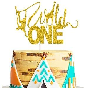 Wild One Cake Topper Safari Animal First Birthday Cake Decor Jungle Wild Safari Zoo Themed 1st Birthday Baby Shower Party Cake Supplies Decorations