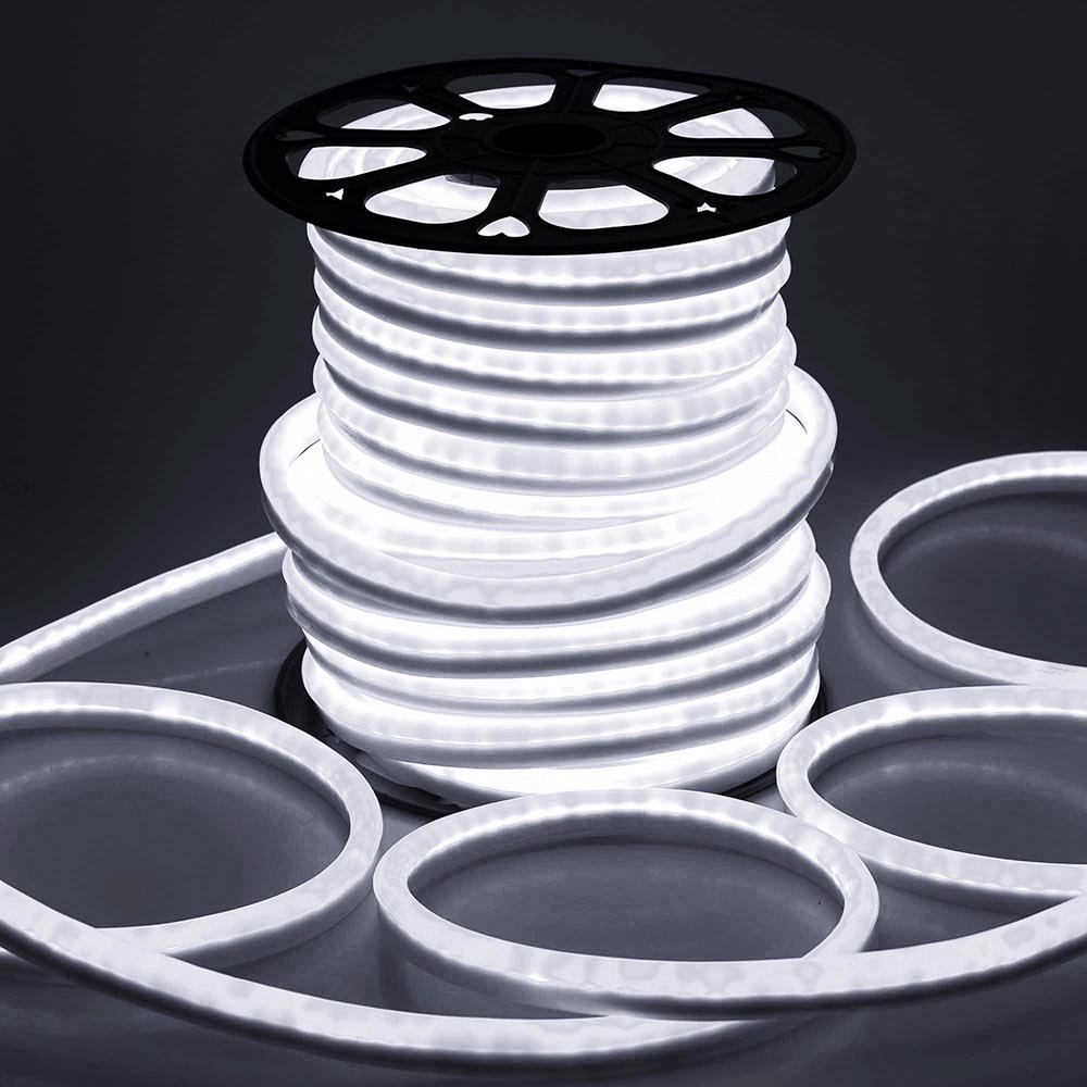 DELight 150 Ft 110 Volts Cool White Flexible LED Neon Rope Tube Light Power Cords for Indoor Outdoor Garden Holiday Valentines Party Decor Lighting