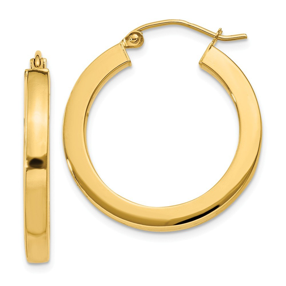 Mia Diamonds 14k Yellow Gold 3mm Polished Square Hoop Earrings