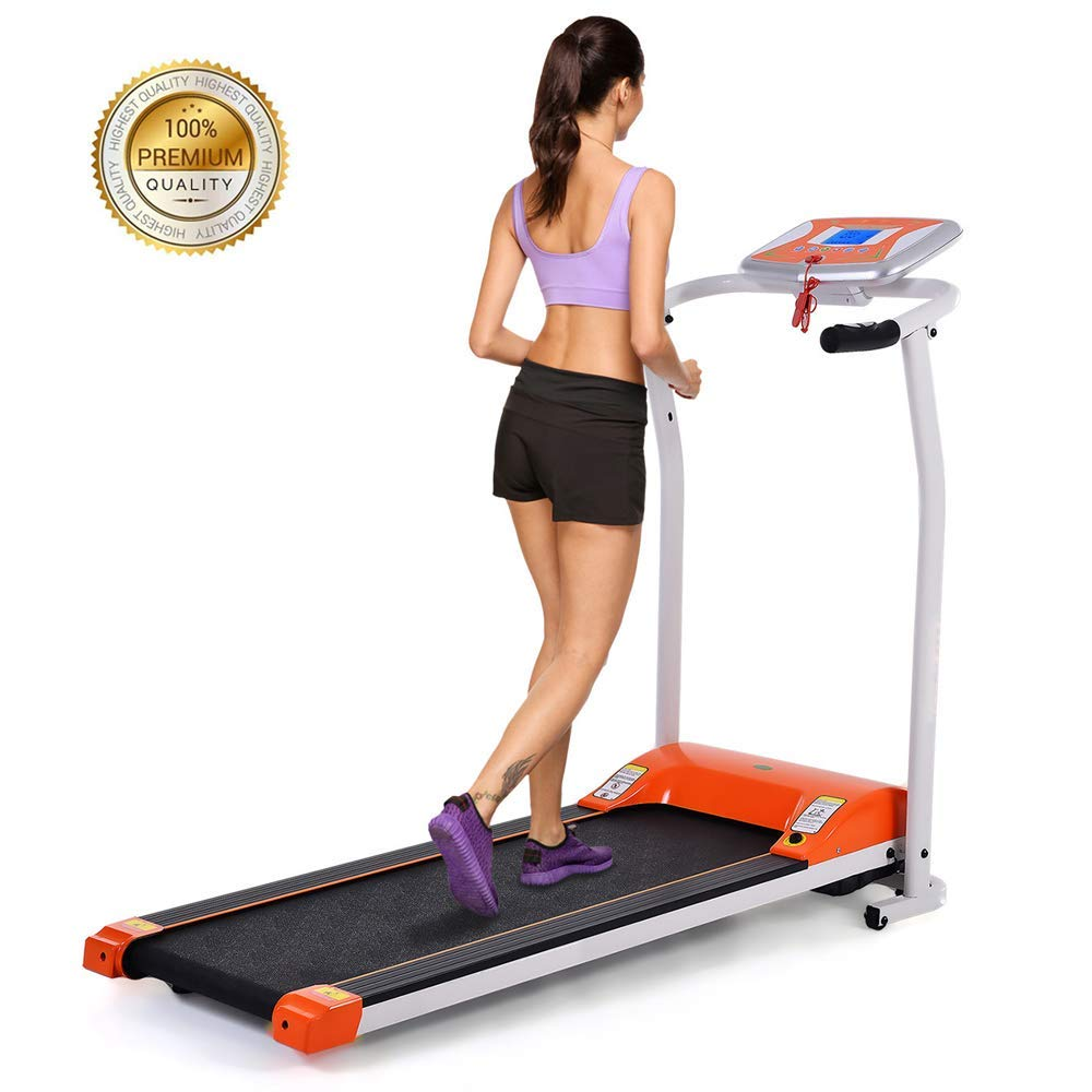 Happybuy 2 in 1 Folding Treadmill Intelligent Speed Control Slim Under Desk Treadmill Slim Design with Transport Wheels Walking Treadmill for Home Gym Cardio Exercise