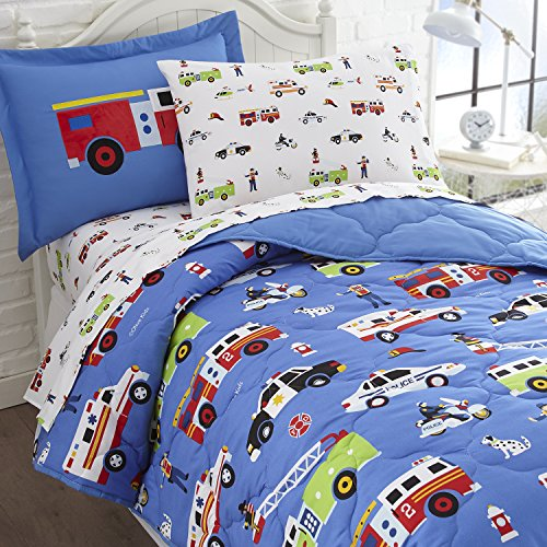 Wildkin 5 Piece Twin Bed-in-A-Bag, 100% Microfiber Bedding Set, Includes Comforter, Flat Sheet, Fitted Sheet, Pillowcase, and Embroidered Sham, Olive Kids Design – ()
