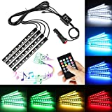 Car LED Strip Light,Interior Car Lights,4pcs 36 LED DC 12V Multicolor RGB Music Atmosphere Neon Under Dash Lighting Kit with Sound Active Function and Wireless Remote Control,Car Charger Included (36LED)