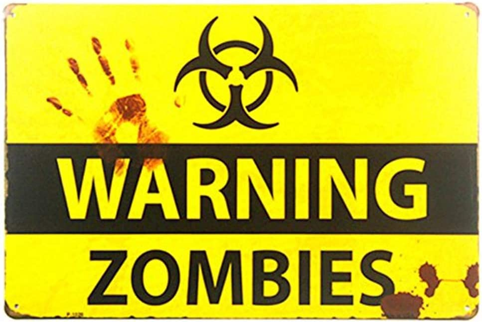 LPLED Shabby Chic Retro Zombie Warning Signs Halloween Posters Outbreak (M0022)