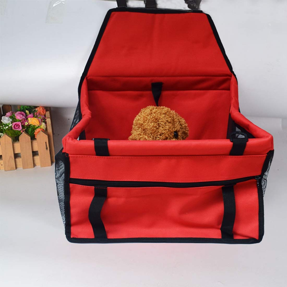 Red 40X30X25CM Red 40X30X25CM YY4 Pet Car Mat Mesh Hanging Bag Breathable Waterproof Double Layer Pet Car Bag Travel Car Mat (color   Red, Size   40X30X25CM)