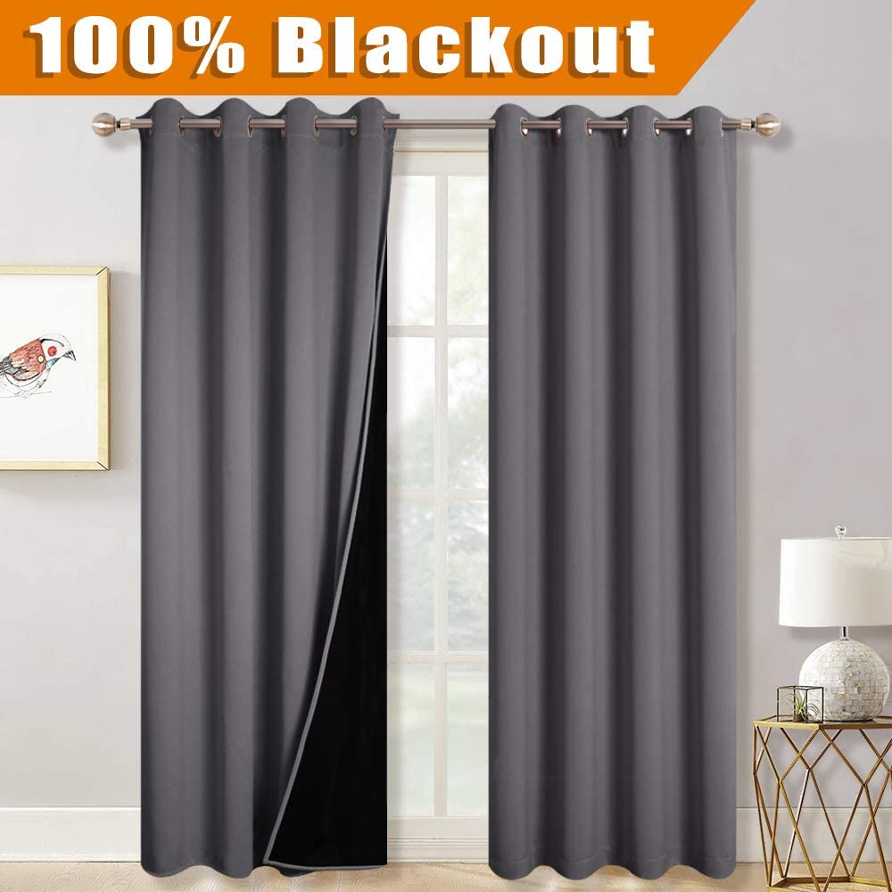 RYB HOME 100% Blackout Lined Curtains 84 inch Length, Living Room Thermal Insulated Energy Smart 2 Layers Full Room Darkening Window Curtains Set for Living Room Dinning, 52 x 84 inches, Grey, 1 Pair
