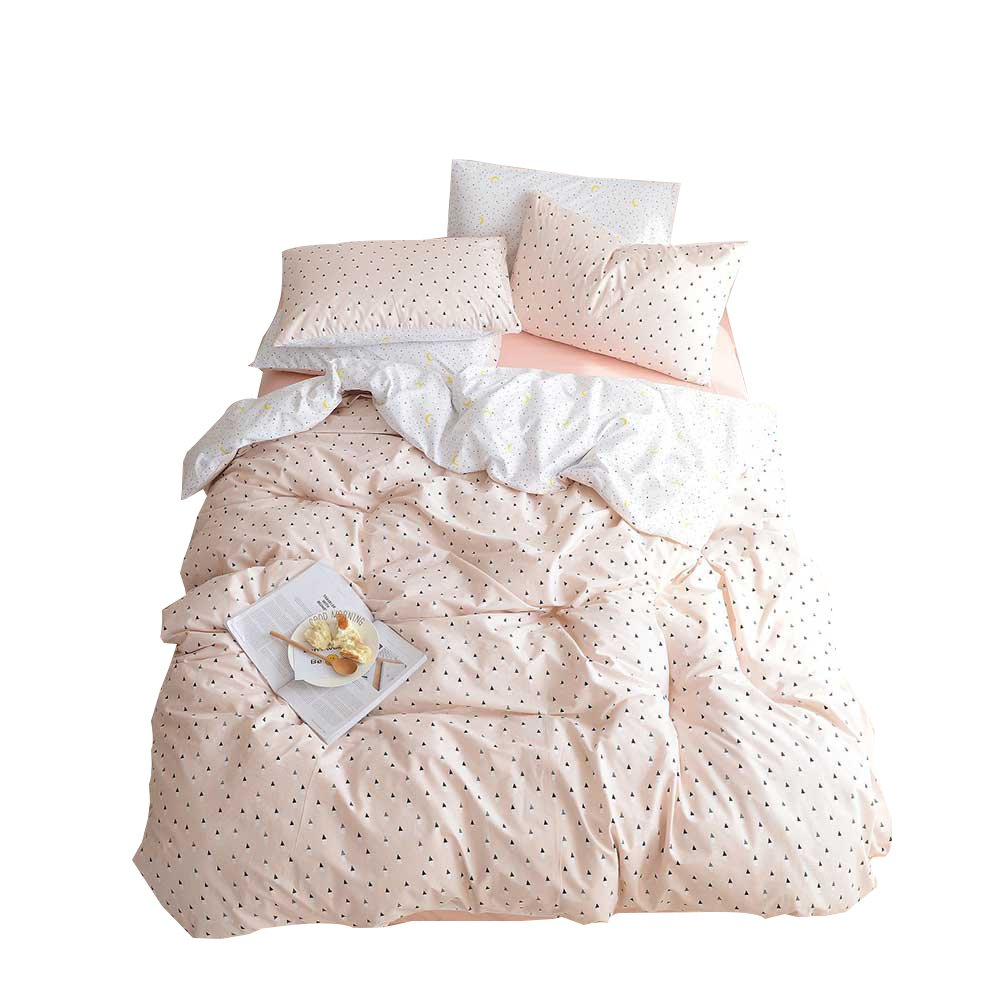 Girls Bedding Sets Twin Color Triangle Star Moon Print Kids Bed 100% Cotton Reversible Soft 3 Pieces Teen Woman Bedding Duvet Cover Set Twin with Pillowcases Zipper Closure and 4 Corner Ties, Pink