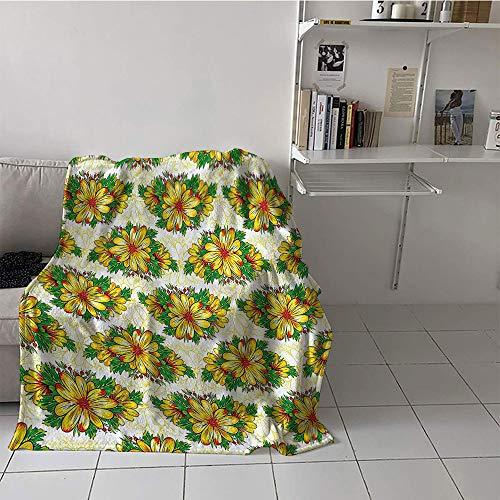 s Blanket Beach Microfiber All Season Blanket (60 by 80 Inch,Garden,Vibrant Spring Flower Daisy Petals Florets Buds Blossom Summer Design,Earth Yellow Hunter Green ()