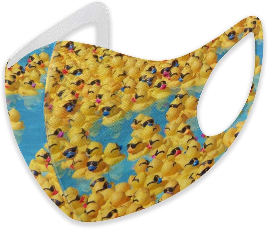 Funda unisex para la oreja, antipolvo, cálida, para ciclismo, varios usos, ajustable, lavable (bonitos patitos de goma amarillos con gafas de sol)
