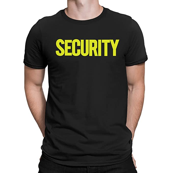 NYC FACTORY Security T-Shirt Front Back Print Mens Tee Staff