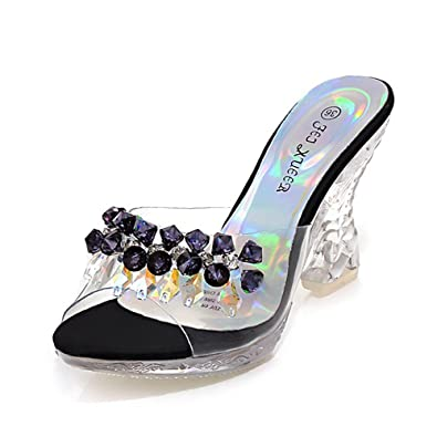 769201c291 Clear High Heels Platform Crystal Sandals Sparkling Diamonds Summer for  Women's Shoes Girl's B(M