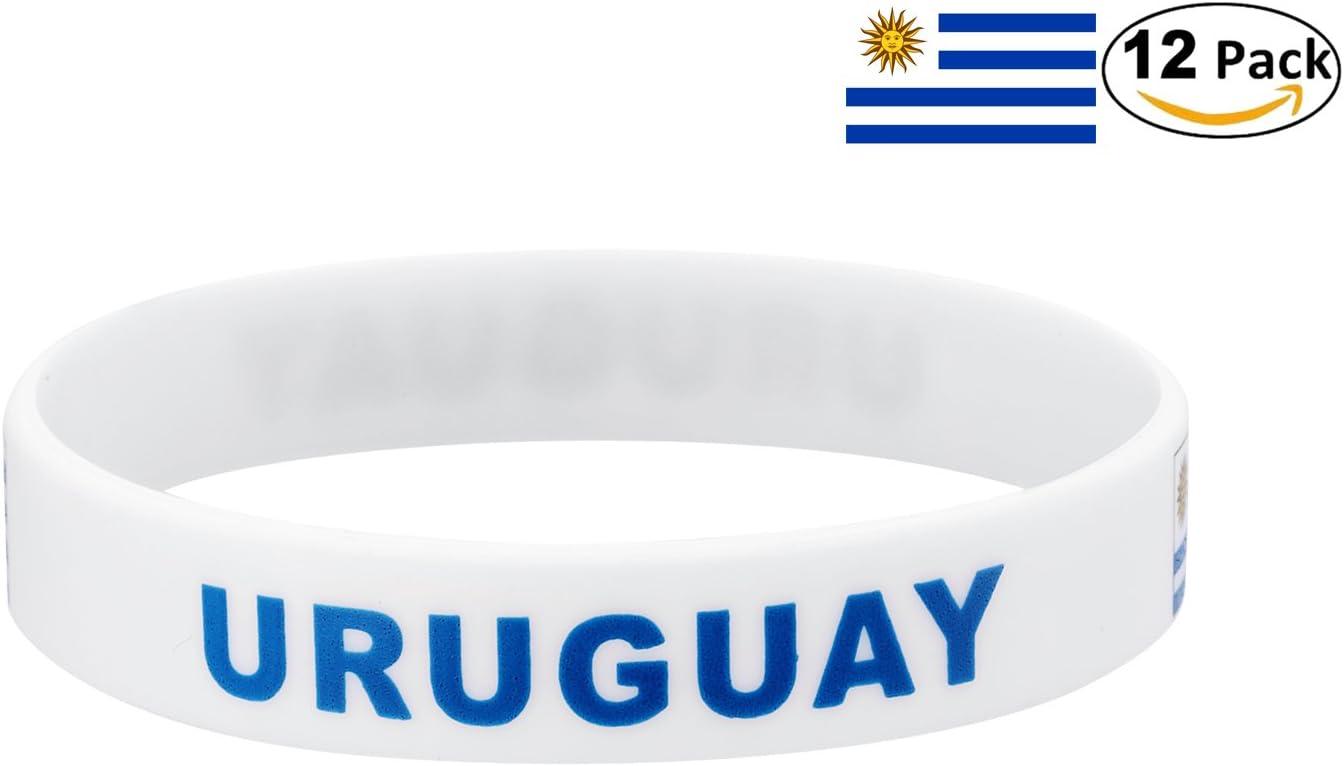YDT 2018 Copa Mundial de la FIFA Brazalete Deportivo Pulseras de la Bandera Nacional de Silicona para los Fanáticos del Fútbol Uruguay Blanco (12 Piezas): Amazon.es: Deportes y aire libre