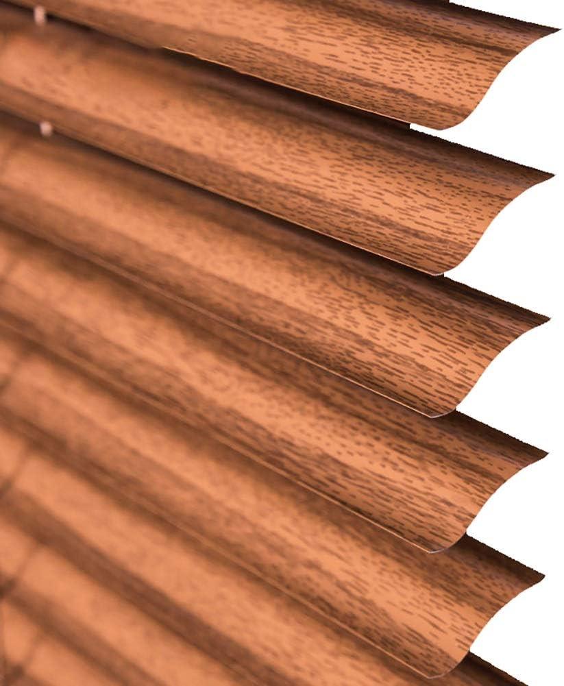 JLXJ Persianas Venecianas Ventana Puerta Aluminio Persiana Veneciana con Marrón Textura de Madera para Dormitorio Infantil/Cocina/Patio, Apagón, 55cm/75cm/95cm/115cm/135cm se Ancho