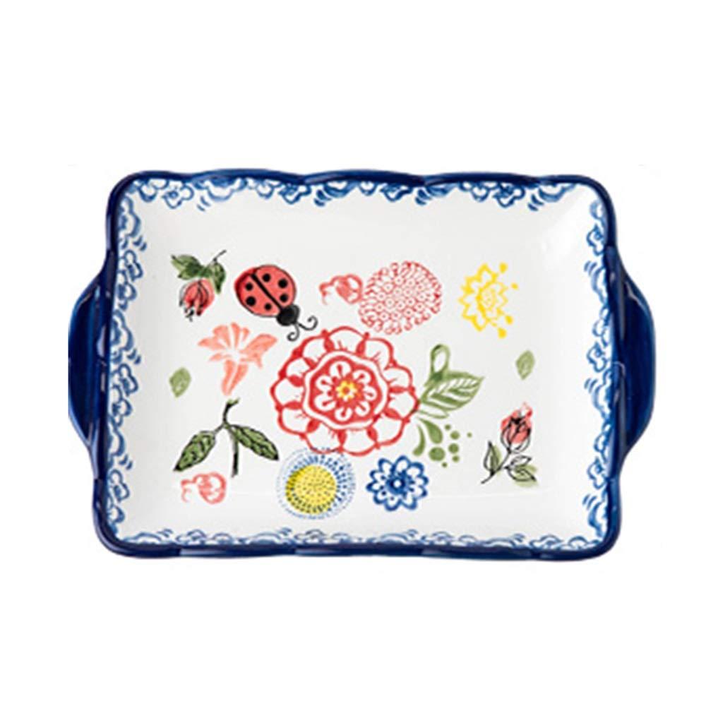 Plate Dish, Fruit Dish, Ceramic Plate, Western Food, Cute Creative Oven Dish (Design : B)