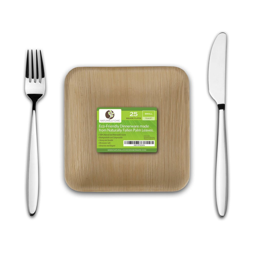 6'' Square Disposable Palm Leaf Paper Plates: Compostable, Biodegradable Heavy Duty Dinner Party Plate - Comparable to Bamboo Wood - Elegant Plant Based Dishware: (25 Pack)