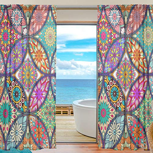 Curtains Panels Colorful Mandala Bohemian Window Sheer Panels for Living Room Drapes 84 inch Long, Set of 2 Panels (Bedroom Curtains Colorful)