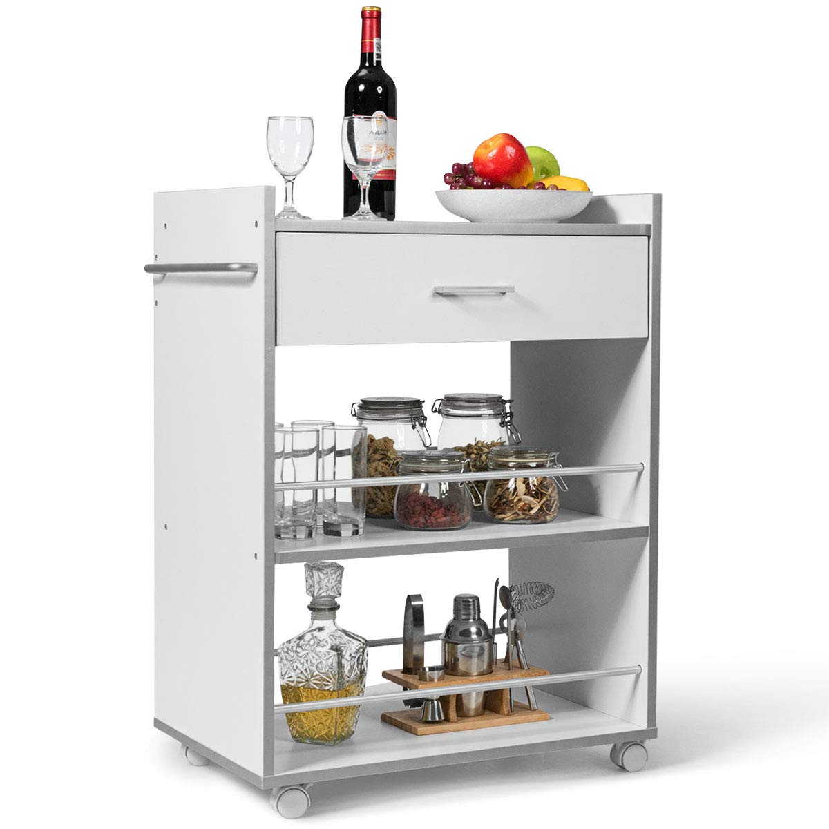 Giantex Kitchen Island Cart Dining Cart Rolling Trolley with Drawer, Towel Rack, Lockable Castors, 2 Shelves with Guardrail (White)