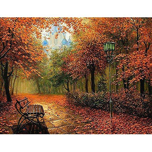 Dull Drill 5d DIY Diamonds Romantic Autumn Leaf Maple Bench Landscape Cross Stitch Kit Diamond Embroidery Home Decor Mosaic Pattern Picture (30x40cm)