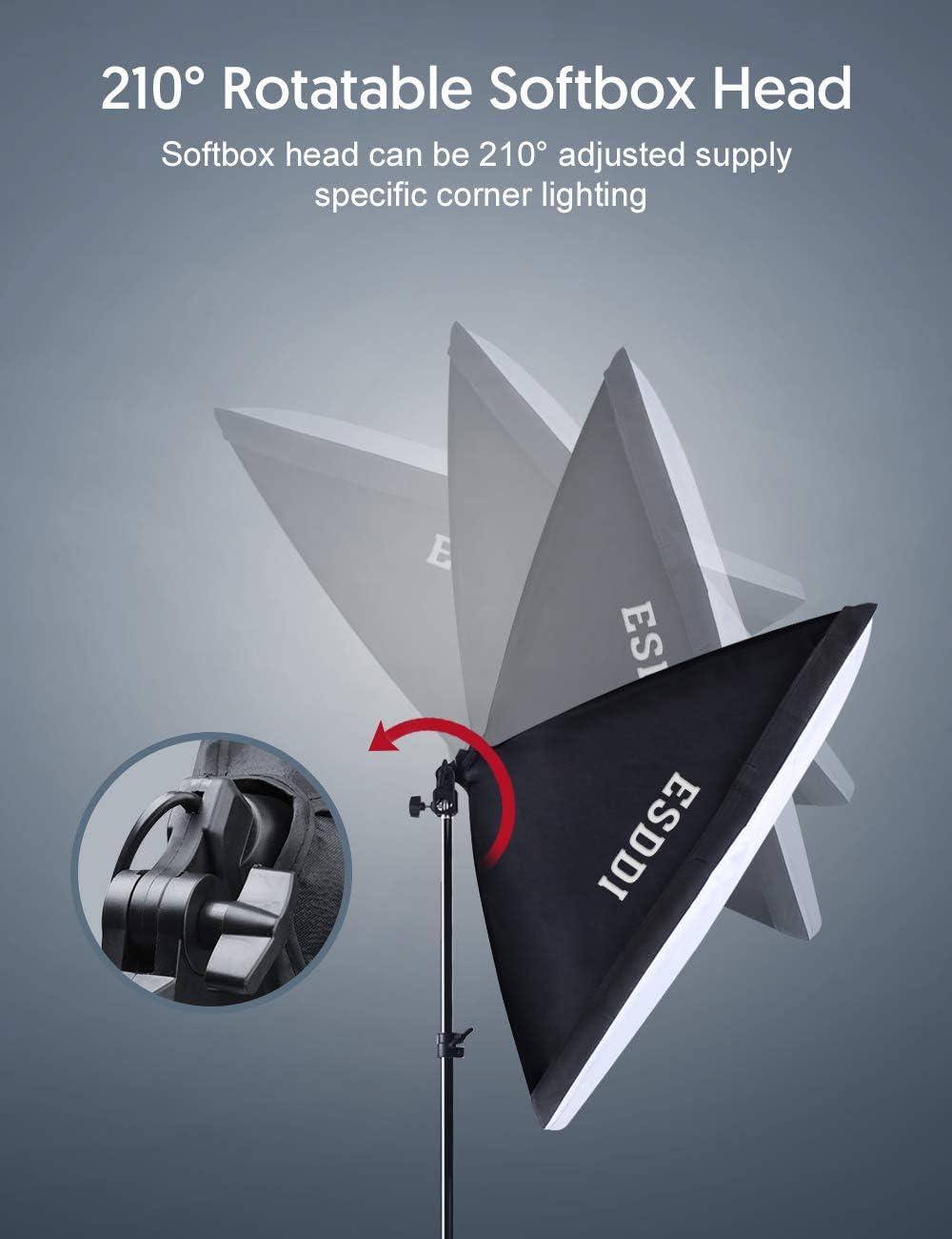 ESDDI Softbox 900W Lighting Kit Professional Photo Studio Equipment with 5500K E27 Socket and 2x50x50 cm Reflectors and 2 LED Bulbs Energy Saving Lighting for Portrait Fashion and Product Photography