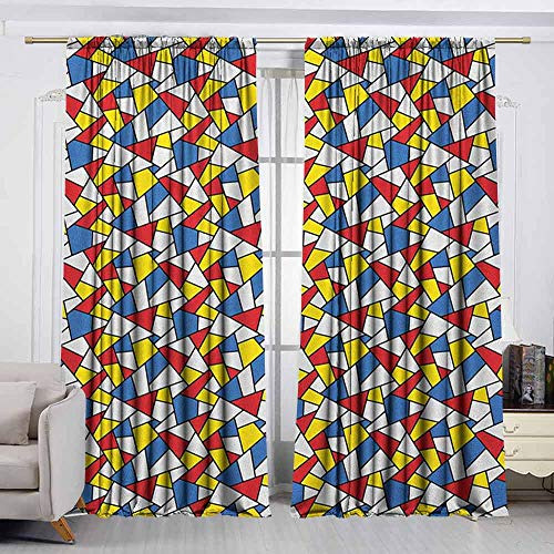 - VIVIDX Outdoor Curtains,Mosaic,Geometric Shapes Composition with Colorful Stained Glass Design Grid Illustration,Room Darkening, Noise Reducing,W63x45L Inches Multicolor