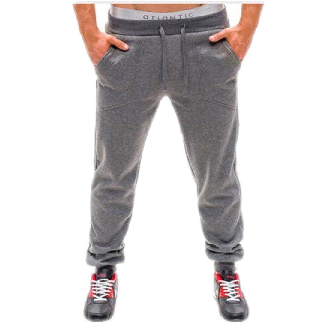 Bodybuilding Man Trousers Pencil Pants Solid Color Jogger Sweat Pants Dark Grey XXL