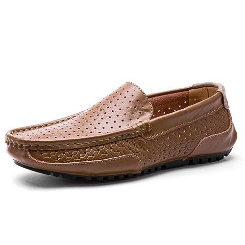 Mocasines de Cuero para Hombres Zapatos de Guisantes Mocasines y Slip-Ons Zapato con Cordones