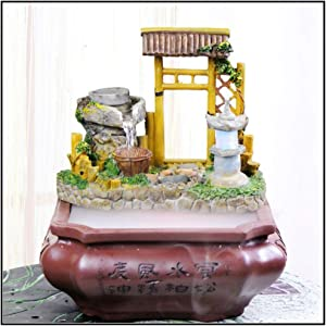Guoqunshop Indoor RelaxationFountain Tabletop Fountain Indoor Stone Mill Desktop Cascading Waterfalls with Colored Lights for Decoration Gift Tabletop Water Fountain