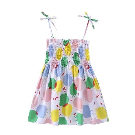 Feixiang Vestido de niñas Vestido sin Mangas con Estampado de Frutas Vestido de Dibujos Animados de