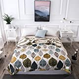 Uther Full/Queen Summer Quilt , Thin Comforter for Summer or Spring , Cotton Bed Summer Air Conditioning Quilt Comforter , Leaves Pattern