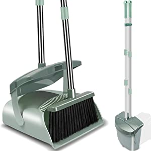Kelamayi Broom and Dustpan Set with Lid, Long Handle Stainless Steel & Light Weight Lobby Broom Combo, Upright Dust Pan Ideal for Home, Kitchen, Room, Office Use (Jade Green)