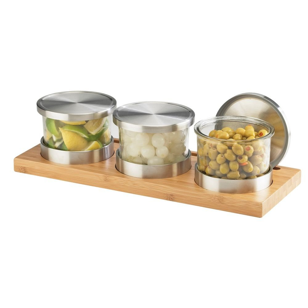 Cal-Mil 1850-4-60 Bamboo Cold Jar Display with Solid Lid, 4'' Height, 16'' Width, 6'' Length